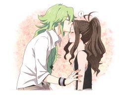 ! 1boy 1girl blush brown_hair couple eyes_closed forehead_kiss green_hair hetero izumi_kikaku kiss long_hair n_(pokemon) pokemon pokemon_(game) pokemon_bw ponytail touko_(pokemon)