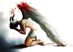 1boy angel angel_wings blood bloody_tears broken_horn demon_horns dreamy94 edgy full_body halo hands_on_own_face highres horns kneeling loincloth muscle original shaded_face shirtless silver_hair solo wings