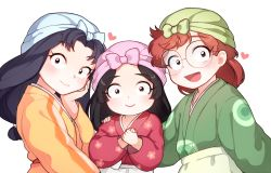 3boys :d apron arm_at_side bangs black_eyes black_hair boy_sandwich brown_hair closed_mouth crossdressing eyebrows_visible_through_hair eyelashes fukutomi_shinbei glasses green_kimono hand_on_another's_shoulder hand_on_own_cheek headdress heart inadera_rantarou japanese_clothes kimono koll long_hair long_sleeves looking_at_viewer low-tied_long_hair male_focus multiple_boys open_mouth outstretched_arm own_hands_together parted_bangs rakudai_ninja_rantarou red_hair red_kimono rimless_glasses sandwiched settsuno_kirimaru sidelocks simple_background smile swept_bangs trap upper_body waist_apron white_background wide_sleeves yellow_kimono