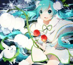 1girl green_eyes green_hair hatsune_miku highres solo thighhighs uiyuzu_(uichoco) vocaloid yuki_miku