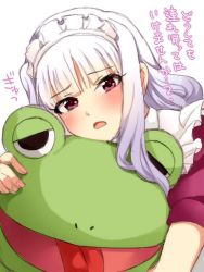 1girl blush frog hug idolmaster long_hair looking_at_viewer maid maid_headdress open_mouth purple_eyes restaint shijou_takane silver_hair solo translated