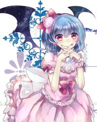 1girl absurdres alternate_costume ascot bat_wings blue_hair bow dress earrings frills ginzuki_ringo hair_ornament hairband hat headband highres jewelry looking_at_viewer nail pink_dress puffy_short_sleeves puffy_sleeves red_eyes remilia_scarlet ribbon short_hair short_sleeves solo touhou wings wrist_cuffs