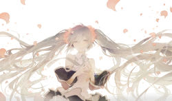 1girl :d fingers_together hatsune_miku long_hair open_mouth petals rella smile solo two_side_up vocaloid