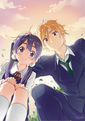 1boy 1girl black_hair blue_eyes brown_eyes brown_hair favilia from_below kitashirakawa_tamako long_hair low_twintails ooji_mochizou school_uniform short_hair tamako_love_story tamako_market twintails