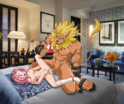 bed bestiality boots breasts brown_eyes cum cum_in_pussy digimon furry high_heel_boots leg_grab leomon nipples nude pink_hair sex spread_legs tachikawa_mimi two_tone_hair uncensored vaginal