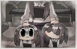 3girls akagi_(kantai_collection) chibi commentary hand_on_another's_head kaga_(kantai_collection) kakuzatou_(koruneriusu) kantai_collection multiple_girls muneate photo_(object) simple_background younger