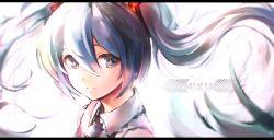 1girl aqua_eyes aqua_hair character_name hatsune_miku highres long_hair looking_at_viewer necktie puroruto_(pro-lt) sleeveless solo twintails very_long_hair vocaloid