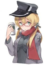 1girl anchor_hair_ornament bespectacled blonde_hair blush breath bust glasses green_eyes hat iron_cross jacket kantai_collection looking_at_viewer military military_hat military_jacket military_uniform no_gloves peaked_cap prinz_eugen_(kantai_collection) red-framed_glasses red_scarf roll_okashi scarf simple_background solo starbucks twintails uniform white_background