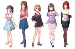 5girls :o ankle_boots arm_at_side bangs bare_legs bare_shoulders black_eyes black_hair black_jacket black_legwear black_shoes black_skirt blouse blue_skirt blunt_bangs bob_cut boots breasts brown_boots brown_eyes brown_hair brown_legwear buttons cardigan closed_mouth collar collarbone converse cross cross-laced_footwear ear_piercing earrings eyebrows_visible_through_hair eyelashes fashion floral_print full_body grey_shorts half_updo heart heart_earrings high_ponytail highres jacket jewelry legs_apart light_brown_hair light_smile lineup long_hair long_sleeves looking_at_viewer medium_breasts miniskirt multiple_girls neck_ribbon necklace nishizawa off-shoulder_sweater off_shoulder open_clothes open_jacket original own_hands_together pantyhose parted_lips pencil_skirt pendant piercing platform_footwear ponytail print_skirt purple_skirt purple_sweater red_eyes red_hair red_ribbon ribbon sandals shiny shiny_clothes shiny_hair shiny_skin shoes short_hair short_shorts shorts shoulder_cutout sidelocks simple_background skirt sleeveless sleeves_past_elbows smile sneakers socks standing sweat sweater turtleneck turtleneck_sweater undressing v-neck w white_background white_blouse white_legwear white_sweater