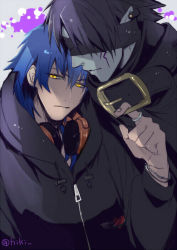 2boys black_hair blindfold blue_hair bracelet buckle dramatical_murder headphones headphones_around_neck hiki_yuichi hoodie jewelry male_focus multiple_boys ren_(dramatical_murder) ring seragaki_aoba yellow_eyes