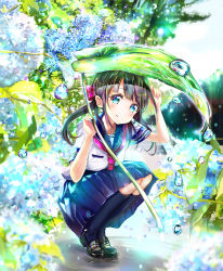 1girl black_hair black_legwear blue_eyes blue_skirt blush flower hydrangea keepout kneehighs leaf_umbrella looking_at_viewer neckerchief original pink_neckerchief skirt smile solo squatting water_drop