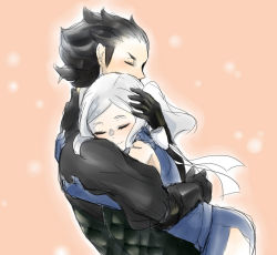 1boy 1girl armor black_armor black_hair blue_dress blush couple cynthia_(fire_emblem) dress elbow_gloves eyes_closed fire_emblem fire_emblem:_kakusei gauntlets gloves hetero hug jerome_(fire_emblem) kunei light_particles mask mask_removed pink_background ribbon short_dress silver_hair smile spiked_hair thighs twintails white_ribbon