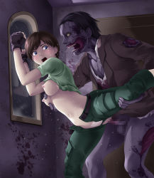 1girl against_wall blue_eyes blush breast_grab breasts brown_hair capcom censored clothed_sex female forced nipples open_mouth panties panties_aside rape rebecca_chambers resident_evil sex short_hair sweat tears thor_(deep_rising) vaginal zombie