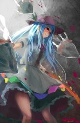 1girl blue_hair bowtie dress food fruit hat hinanawi_tenshi kachayori leaf long_hair peach puffy_sleeves red_eyes rock rope shimenawa short_sleeves solo sword_of_hisou touhou