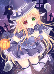 1girl :3 :d blonde_hair blush breasts capelet cleavage cross dress eyebrows eyebrows_visible_through_hair frilled_capelet frilled_dress frilled_gloves frills ghost gloves green_eyes hair_ribbon halloween hat hat_ribbon heterochromia holding jewelry kohinata_hoshimi lace lace-trimmed_hat lantern long_hair looking_at_viewer medium_breasts necklace open_mouth original pumpkin red_eyes ribbon shoes smile solo sparkle star star_(sky) striped striped_legwear striped_ribbon thighhighs witch witch_hat