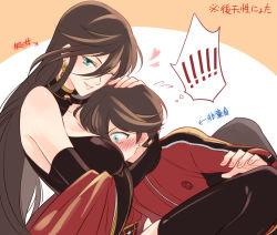1boy 1girl between_breasts breast_smother genderswap genderswap_(mtf) head_between_breasts horikawa_kunihiro izumi-no-kami_kanesada rainsp touken_ranbu