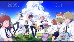 3girls 5boys agumon biyomon brown_hair daiki_(daikingairkgk) dated digimon digimon_adventure digimon_adventure_tri digimon_adventure_tri. eyes_closed gabumon gomamon ishida_yamato izumi_koushirou kido_jou long_hair multiple_boys multiple_girls necktie palmon patamon school_uniform short_hair skirt sky smile tachikawa_mimi tailmon takaishi_takeru takenouchi_sora tentomon yagami_hikari yagami_taichi