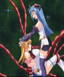 2girls animated animated_gif blonde_hair blue_eyes blue_hair elbow_gloves fellatio femdom futanari gloves hair_ornament honjou_emiru honjou_erena incest inflation irrumatio magical_girl mahou_shoujo_erena multiple_girls open_mouth oral pumping red_eyes restrained sisters skirt space stitched stomach_bulge tentacle thighhighs tied_hair twintails valkyria_(studio)