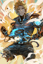 1boy akumey angry belt black_sclera blonde_hair brown_hair charging commentary_request cyborg damaged denim earrings energy genos highres injury jeans jewelry male_focus mechanical_parts onepunch_man pants parts_exposed shirt short_hair solo torn_clothes torn_jeans torn_shirt yellow_eyes