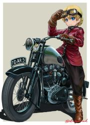 1girl abazu-red artist_name black_pants blonde_hair blue_eyes boots braid brown_boots darjeeling girls_und_panzer goggles goggles_on_head grey_background jacket looking_at_viewer motor_vehicle motorcycle pants red_jacket riding shadow short_hair signature simple_background smile solo tied_hair twin_braids vehicle vehicle_request