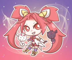 alternate_costume alternate_hair_color chibi elbow_gloves fingerless_gloves gloves grin jinx_(league_of_legends) kuro_(league_of_legends) league_of_legends long_hair magical_girl red_hair shiro_(league_of_legends) smile star_guardian_jinx thighhighs twintails very_long_hair