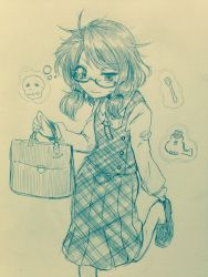 1girl adjusting_clothes adjusting_shoe bag bangs blush closed_mouth collared_shirt commentary_request cowboy_shot efukei eyebrows_visible_through_hair glasses hair_dryer highres holding loafers long_sleeves low_twintails messy_hair monochrome satchel semi-rimless_glasses shirt shoes skirt skirt_set skull sleeveless solo tears thought_bubble toothbrush touhou traditional_media twintails under-rim_glasses usami_sumireko wavy_mouth