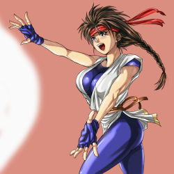 1girl bodysuit braid brown_eyes brown_hair fatal_fury fighting_stance fingerless_gloves floating_hair gloves headband lips looking_away open_mouth simple_background solo xioak yuri_sakazaki