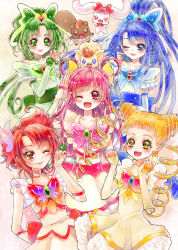 5girls ;d aki_(na_uup) akimoto_komachi blonde_hair blue_bow blue_eyes blue_hair blush bow brooch brown_eyes butterfly_hair_ornament closed_mouth coco_(yes!_precure_5) creature cure_aqua cure_dream cure_lemonade cure_mint cure_rouge double_bun dress drill_hair earrings elbow_gloves fingerless_gloves frills gloves green_bow green_eyes green_hair hair_bow hair_ornament hair_rings hands_together highres jewelry kasugano_urara_(yes!_precure_5) lips long_hair looking_at_viewer milk_(yes!_precure_5) minazuki_karen multiple_girls natsuki_rin nuts_(yes!_precure_5) one_eye_closed open_mouth pink_bow pink_hair ponytail precure red_eyes red_hair short_hair smile squirrel twin_drills white_dress white_gloves yellow_bow yellow_choker yellow_eyes yes!_precure_5 yumehara_nozomi