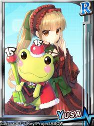 1girl angel_beats! blonde_hair brown_eyes card card_(medium) dress frog gothic_lolita hairband halftone_background headset lolita_fashion lolita_hairband long_hair red_dress remotaro twintails yusa_(angel_beats!)