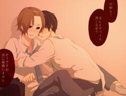 akiyama_mio black_hair blush brown_eyes brown_hair couple genderswap hairband pants seifuku short_hair tainaka_ritsu tie yaoi
