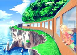1girl blonde_hair grass sea train trees water windy