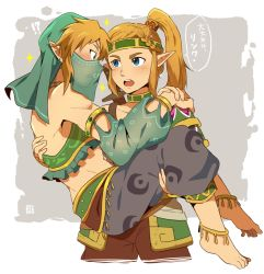 !? 1boy 1girl alternate_costume alternate_hairstyle anklet armlet blonde_hair blush braid carrying circlet crossdressing detached_sleeves earrings feet gerudo_link hands_on_shoulders headband jewelry link looking_at_another midriff neck open_mouth otoko_no_ko panties pointy_ears ponytail princess_carry princess_zelda profile reverse_trap role_reversal see-through sei_(seiryuuden) sidelocks signature simple_background sparkle speech_bubble surprised sword the_legend_of_zelda the_legend_of_zelda:_breath_of_the_wild thick_eyebrows toned translation_request underwear veil weapon