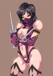 1girl bare_shoulders black_hair bodysuit breasts female large_breasts long_hair looking_at_viewer mileena mortal_kombat simple_background solo weapon