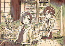 2boys alexander_(fate/grand_order) beaker black_hair bob_cut bookshelf braid carrying fate/grand_order fate/zero fate_(series) flask kawasemi_(pocorit) lab_burner_stand lab_condenser labcoat long_sleeves looking_at_another multiple_boys necktie pointing ponytail red_hair sepia shorts sitting sleeves_rolled_up sweater_vest test_tube waver_velvet window