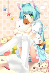 1girl :3 absurdres animal_ears blue_hair blue_skirt blurry blush blush_stickers cat_ears cat_tail cat_teaser closed_mouth cushion depth_of_field eyebrows eyebrows_visible_through_hair green_eyes head_tilt highres looking_at_viewer object_hug original ornament panties pantyshot pantyshot_(sitting) paw_print puffy_short_sleeves puffy_sleeves sakura_chiyo_(konachi000) shirt short_sleeves sitting skirt smile solo star striped striped_panties stuffed_animal stuffed_cat stuffed_toy tail thighhighs toy_mouse underwear white_legwear white_shirt
