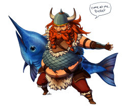 alternate_costume armor artist_name beard boots braided_beard facial_hair fat fat_man fish full_body gragas helmet highres irahi league_of_legends long_hair male_focus orange_hair simple_background solo swordfish viking white_background