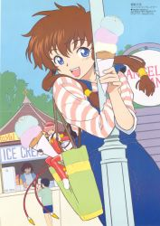 1boy 3girls :d ^_^ age_difference angelic_layer apron bag bangs black_hair blue_eyes boots brown_hair cable casual child crease crossed_arms cup denim denim_shorts elbow_gloves eyes_closed flat_color food gloves hair_tubes hikaru_(angelic_layer) holding hug ice_cream lamppost leotard long_hair looking_at_viewer low-tied_long_hair megami minigirl multiple_girls official_art open_mouth outdoors overalls pink_hair pole red_eyes red_legwear scan shirt short_hair shorts sitting sky sleeves_rolled_up smile standing strap_slip striped striped_shirt suzuhara_misaki suzuki_norimitsu thigh_boots thighhighs tree zettai_ryouiki