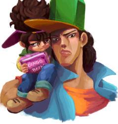 2boys boingo book brothers brown_hair dark_skin hat jojo_no_kimyou_na_bouken kamiura multiple_boys oingo siblings thoth_(stand)
