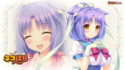 1girl :d ^_^ animal_ears bell bell_collar blush bow breasts cat_ears cat_tail cinnamon_(sayori) collar copyright_name dress eyes_closed floral_background gloves hair_ribbon hands_together happy highres jingle_bell large_breasts looking_at_viewer nekopara open_mouth ponytail puffy_short_sleeves puffy_sleeves purple_hair ribbon sayori short_hair short_ponytail short_sleeves slit_pupils smile solo steepled_fingers tail wallpaper yellow_eyes zoom_layer