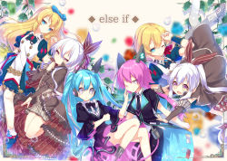 6+girls :d :o argyle arm_up bangs bare_legs bent_knees black_bow black_bowtie black_necktie black_pants blonde_hair blue_bow blue_dress blue_eyes blue_hair blurry_background bow bowtie brown_bow brown_shoes brown_skirt bubble buttons capelet center_frills clenched_hand closed_mouth detached_sleeves doll_joints dress eyebrows_visible_through_hair falling frame frilled_dress frills glowing gradient_eyes grey_eyes hair_between_eyes hair_bow hair_ribbon half-closed_eyes hand_on_another's_cheek hand_on_another's_face hand_on_own_chin hand_on_own_head hand_up headgear leaf light_particles long_hair looking_at_viewer looking_down looking_to_the_side multicolored_eyes multiple_girls necktie nyori one_eye_closed open_mouth original outstretched_arms pants pink_hair plant ponytail prosthesis puffy_short_sleeves puffy_sleeves purple_eyes red_ribbon ribbon roman_numerals shiny shiny_hair shirt shoes short_sleeves sidelocks skirt smile tassel twintails very_long_hair waist_cape white_hair white_legwear white_shirt wristband yellow_eyes