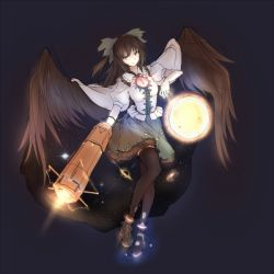 1girl arm_cannon black_hair black_legwear black_wings cape full_body glowing glowing_eye gradient gradient_background long_hair looking_at_viewer minust puffy_sleeves red_eyes reiuji_utsuho shirt short_sleeves simple_background skirt smile solo sun thighhighs third_eye touhou weapon wings zettai_ryouiki