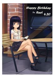 1girl ankle_boots bench black_hair book boots chair gokou_ruri happy_birthday high_heel_boots high_heels legs_crossed long_hair looking_at_viewer mole mole_under_eye ore_no_imouto_ga_konna_ni_kawaii_wake_ga_nai pleated_skirt purple_eyes sitting skirt solo table zhanzheng_zi
