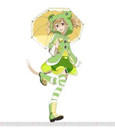 1girl animal_ears brown_hair cat_ears frog_hood holding holding_umbrella long_hair looking_at_viewer navel open_mouth red_eyes see-through short_hair shorts silica silica_(sao-alo) simple_background solo striped striped_legwear sword_art_online sword_art_online:_code_register thighhighs umbrella watermark white_background