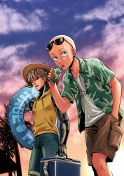 2boys bald black_sclera blonde_hair cooler cyborg drinking drinking_straw genos glasses hand_in_pocket hat innertube juice_box kiyosumi_hurricane male_focus multiple_boys one-punch_man saitama_(one-punch_man) short_hair shorts straw sunglasses sunglasses_on_head walking yellow_eyes