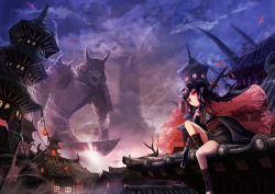 1girl cape fantasy giant horns japanese_clothes katana kimono looking_at_viewer monster namacotan oni original pointy_ears red_eyes sword weapon