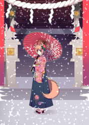 1girl animal_ears blue_eyes floral_print flower fox fox_ears fox_tail hair_flower hair_ornament heterochromia highres holding holding_umbrella japanese_clothes kimono long_sleeves looking_at_viewer orange_eyes orange_hair oriental_umbrella original rope sandals sash shimenawa short_hair snow snowing solo stairs statue tail torii tsuki_no_same umbrella watermark web_address wide_sleeves