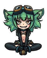 1girl absurdres animal_ears blush_stickers center_opening chibi female full_body goggles goggles_on_head green_hair gremlin_(monster_girl_encyclopedia) grin highres looking_at_viewer monorus monster_girl_encyclopedia short_hair simple_background sitting smile solo thighhighs v_arms white_background yellow_eyes