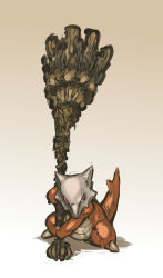 dark_souls hammer highres huge_weapon marowak nameo_(judgemasterkou) no_humans pokemon red_eyes size_difference skull solo souls_(from_software) weapon