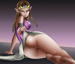 1girl ass barefoot blue_eyes female irillthedreamer looking_at_viewer pointy_ears princess_zelda pussy skirt_lift solo the_legend_of_zelda twilight_princess