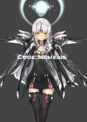 1girl armor black_legwear black_skirt elsword eve_(elsword) expressionless fingerless_gloves forehead_jewel gloves grey_background highres long_hair shinso_(yoshitsuna) skirt solo thighhighs white_hair yellow_eyes